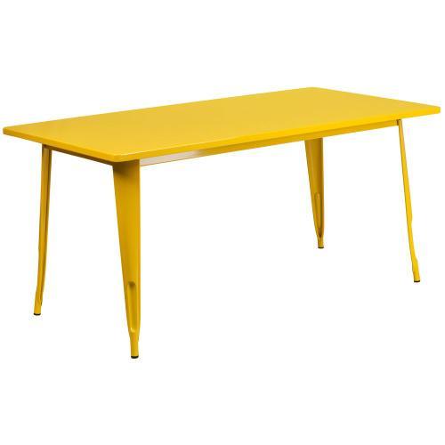 31.5'' x 63'' Rectangular Yellow Metal Indoor-Outdoor Table