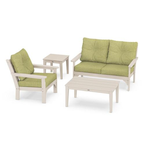 Vineyard 4-Piece Deep Seating Set in Sand / Chartreuse Boucle