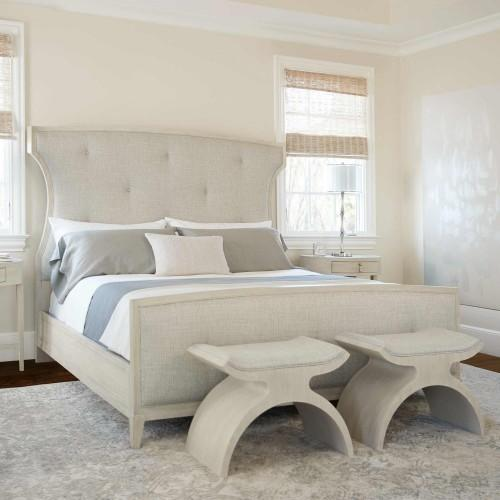 King-Sized East Hampton Upholstered Bed in Cerused Linen (395)