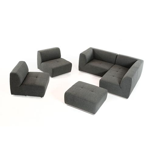 VIG Furniture - Divani Casa Hawthorn - Modern Grey Fabric Modular Right Facing Sectional Sofa + Ottoman
