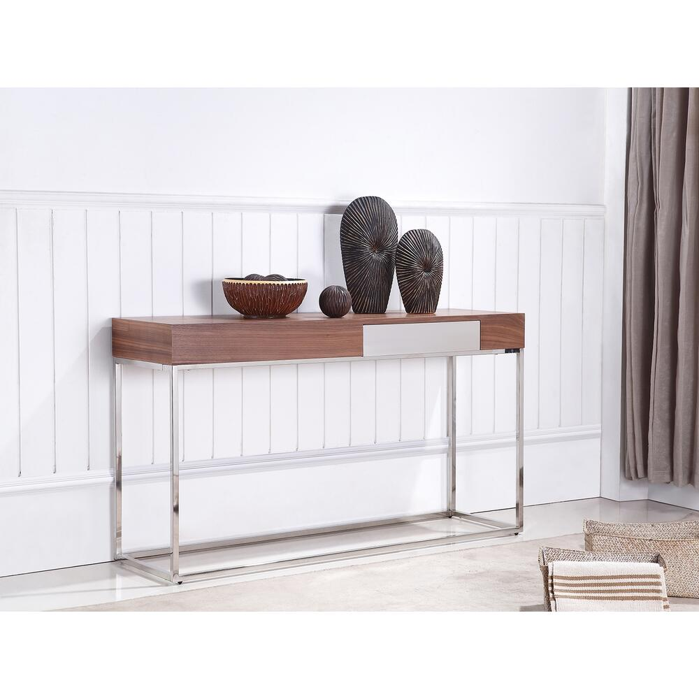 The Giga Console Table In Walnut Veneer And High Polished Stainless Steel