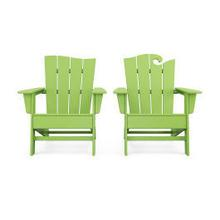 View Product - Wave 2-Piece Adirondack Set with The Wave Chair Left in Vintage Lime