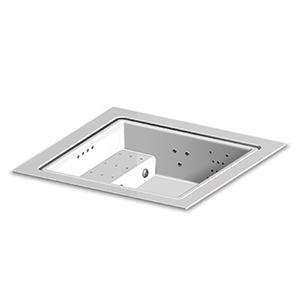 Built-in fiberglass minipool with skimming lip. Seat with blower 4 dorsal whirlpool and 1 leg linear whirlpool systems RGB LED spot lamp ozonator electrical heating system. For 3/4 persons. White colour.