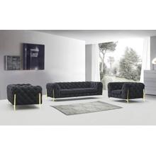 See Details - Divani Casa Sheila - Modern Dark Grey Fabric Sofa Set