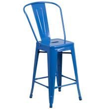 See Details - 24'' High Blue Metal Indoor-Outdoor Counter Height Stool with Back