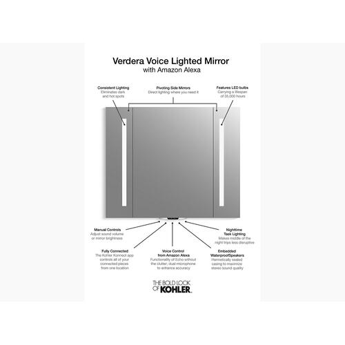 "Voice Lighted Mirror With Amazon Alexa, 40"" W X 33"" H"