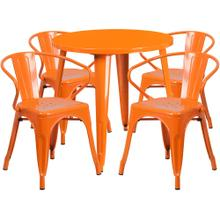 30'' Round Orange Metal Indoor-Outdoor Table Set with 4 Arm Chairs