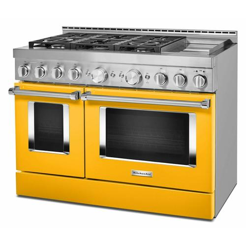 Gallery - KitchenAid® 48'' Smart Commercial-Style Gas Range with Griddle - Yellow Pepper