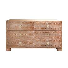 Six Drawer Chest With Brass and Acrylic Hardware In Dark Cerused Oak