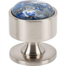 View Product - FireSky Mohave Lapis Knob 1 3/8 Inch Brushed Satin Nickel Base Brushed Satin Nickel