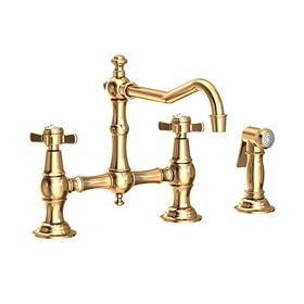 Uncoated Polished Brass - Living Kitchen Bridge Faucet with Side Spray