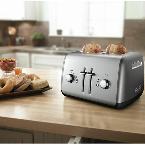 KitchenAid - 4-Slice Toaster with Manual High-Lift Lever - Contour Silver