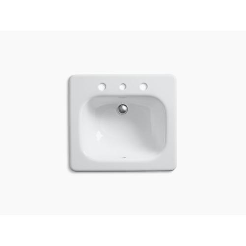 """White Drop-in Bathroom Sink With 8"""" Widespread Faucet Holes"""