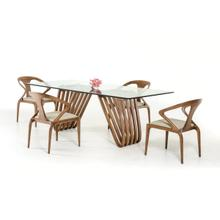 View Product - Modrest Draper Contemporary Walnut & Glass Dining Table