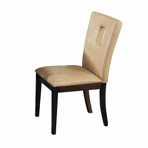 ACME Danville Side Chair (Set-2) - 16776 - Cream PU & Walnut