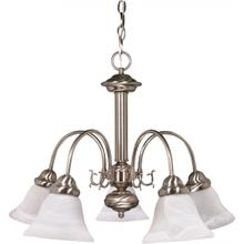 Ballerina - 5 Light Chandelier with Alabaster Glass - Brushed Nickel Finish