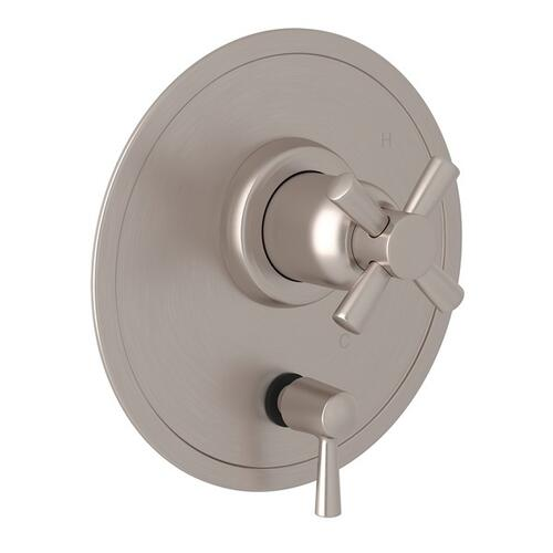 Satin Nickel Perrin & Rowe Holborn Pressure Balance Trim With Diverter with Holborn Cross Handle