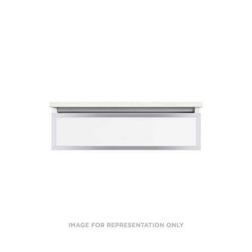 """Profiles 30-1/8"""" X 7-1/2"""" X 21-3/4"""" Modular Vanity In Satin White With Chrome Finish and Slow-close Plumbing Drawer"""
