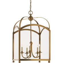 E. F. Chapman Arch Top 5 Light 20 inch Antique-Burnished Brass Foyer Pendant Ceiling Light