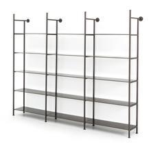 Triple Size Gunmetal Finish Enloe Modular Bookshelf System