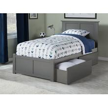 Madison Twin XL Flat Panel Foot Board with 2 Urban Bed Drawers Atlantic Grey