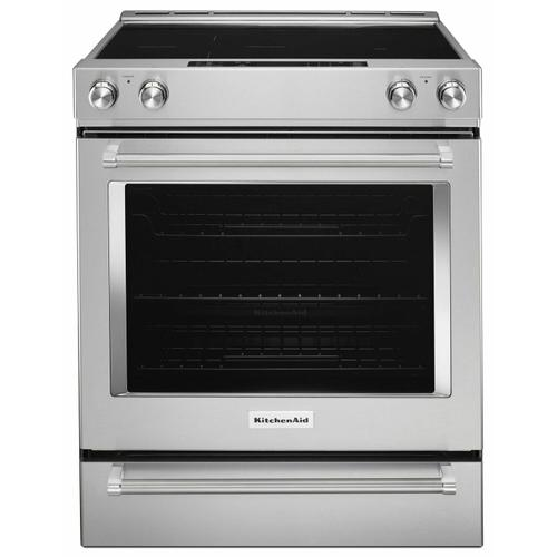 KitchenAid - 30-Inch 5-Element Electric Convection Slide-In Range with Baking Drawer - Stainless Steel
