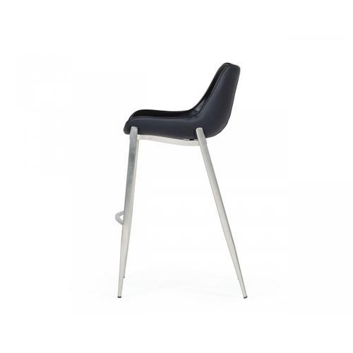 VIG Furniture - Modrest Hooper - Modern Black Eco-Leather Bar Stool (Set of 2)