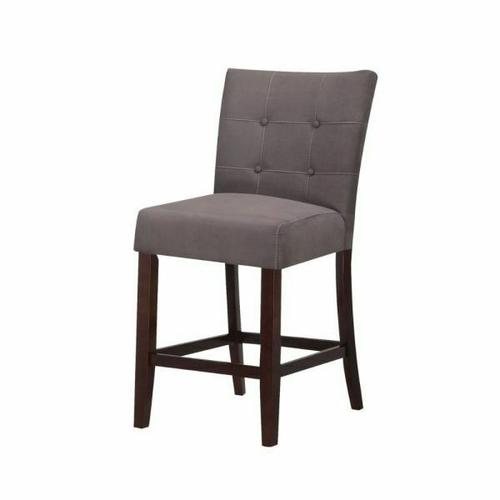 "ACME Baldwin Counter Height Chair (Set-2) - 16831 - Gray Microfiber & Walnutt - 24"" Seat Height"