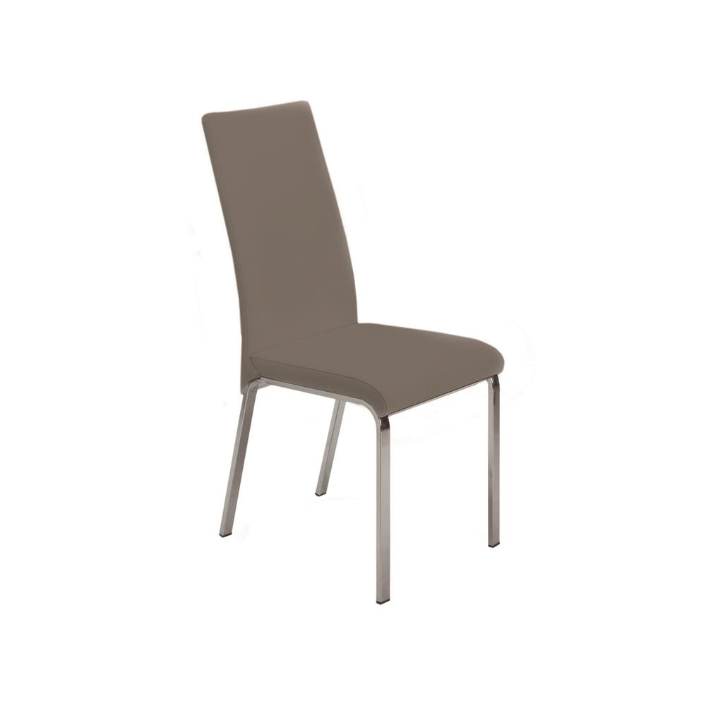 The Loto Italian Taupe Leather Dining Chairs