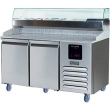 Product Image - 2 Door Pizza Prep-table Refrigerator + Condiment Rail With Stainless Solid Finish (115v/60 Hz Volts /60 Hz Hz)