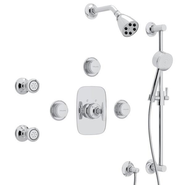 Polished Chrome GRACELINE THERMOSTATIC SHOWER PACKAGE with Metal Dial Handle Graceline Series Only