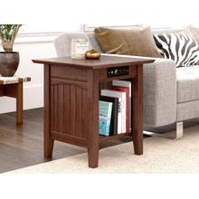 Nantucket End Table with Charger Burnt Amber