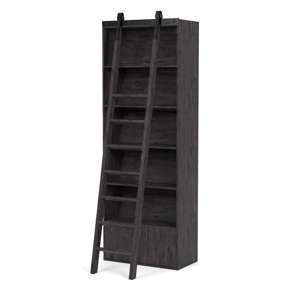 Bookshelf W/ Ladder Configuration Dark Charcoal Finish Bane Bookshelf