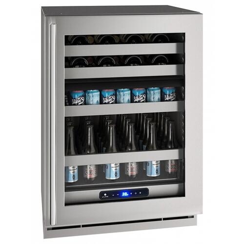 "24"" Dual-zone Beverage Center With Stainless Frame Finish and Left-hand Hinge Door Swing (115 V/60 Hz Volts /60 Hz Hz)"
