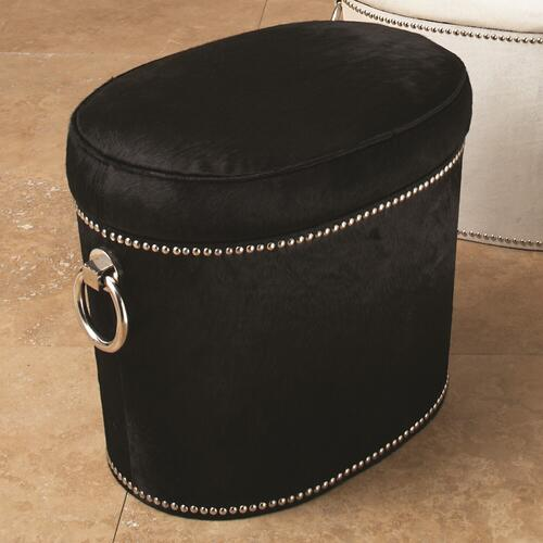 Angus Black Cowhide Ring Bench
