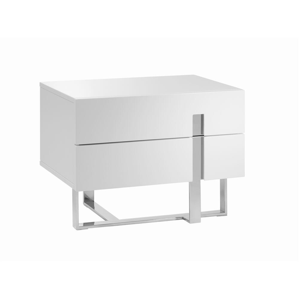 The Collins Nightstand In High Gloss White Lacquer With High Polished Stainless Steel