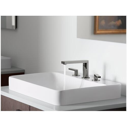Biscuit Vessel Bathroom Sink With Widespread Faucet Holes