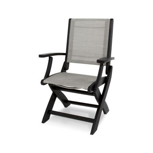 Black & Metallic Coastal Folding Chair