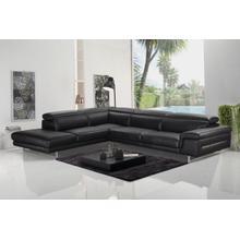 View Product - Accenti Italia Westport - Italian Modern Dark Grey Leather Left Facing Sectional Sofa
