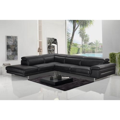 VIG Furniture - Accenti Italia Westport - Italian Modern Dark Grey Leather Left Facing Sectional Sofa