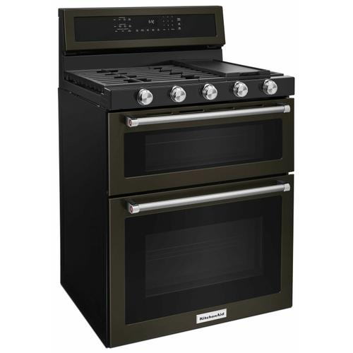 KitchenAid - 30-Inch 5 Burner Gas Double Oven Convection Range - Black Stainless Steel with PrintShield™ Finish