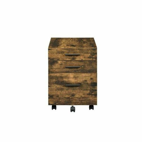 ACME Abner File Cabinet - 92885 - Transitional - Veneer (PVC), PB, Casters - Weathered Oak