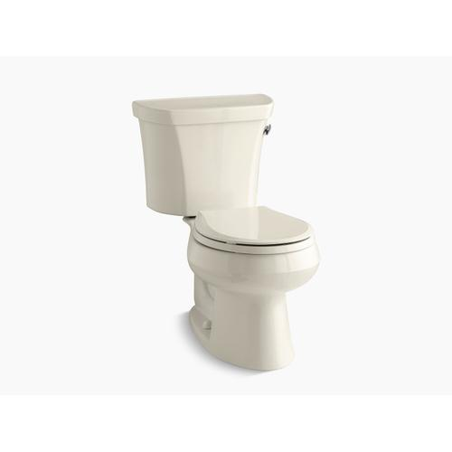 Kohler - Almond Two-piece Round-front 1.28 Gpf Toilet With Right-hand Trip Lever, Tank Cover Locks, and Insulated Tank