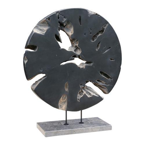 Round Teak Wood Art Weathered Grey Large