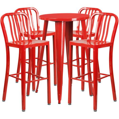24'' Round Red Metal Indoor-Outdoor Bar Table Set with 4 Vertical Slat Back Stools