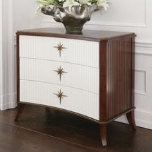 See Details - Klismos Three Drawer Cabinet-Walnut/Ivory