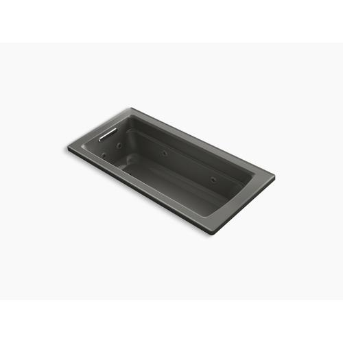 "Thunder Grey 66"" X 32"" Drop-in Whirlpool Bath With Bask Heated Surface"