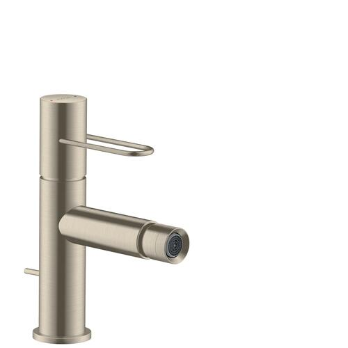 Brushed Nickel Single lever bidet mixer with loop handle and pop-up waste set
