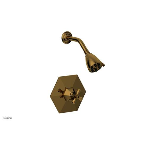 Phylrich - LE VERRE & LA CROSSE Pressure Balance Shower Set - Cross Handle PB3171 - French Brass