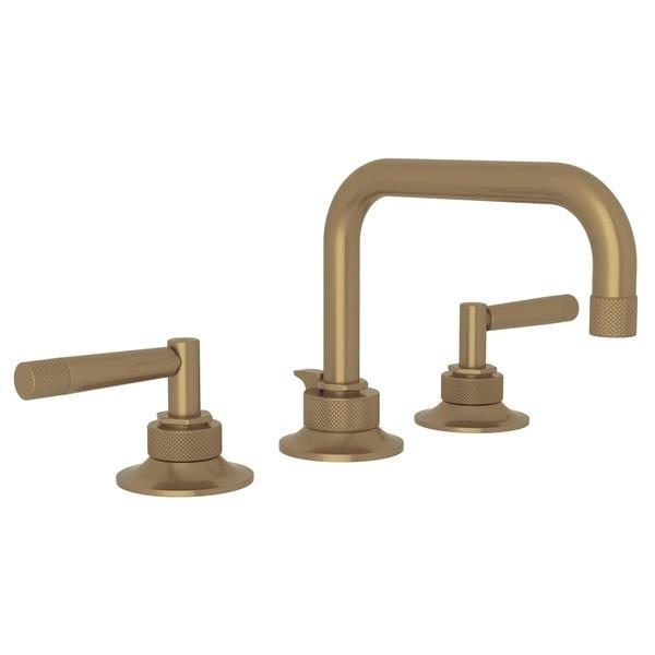 French Brass Graceline U-Spout Widespread Lavatory Faucet with Metal Lever Graceline Series Only